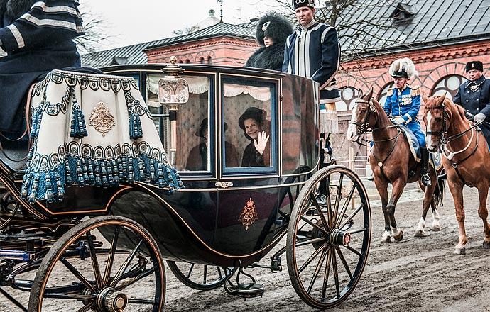 Drottningen i hovstallets vagn.