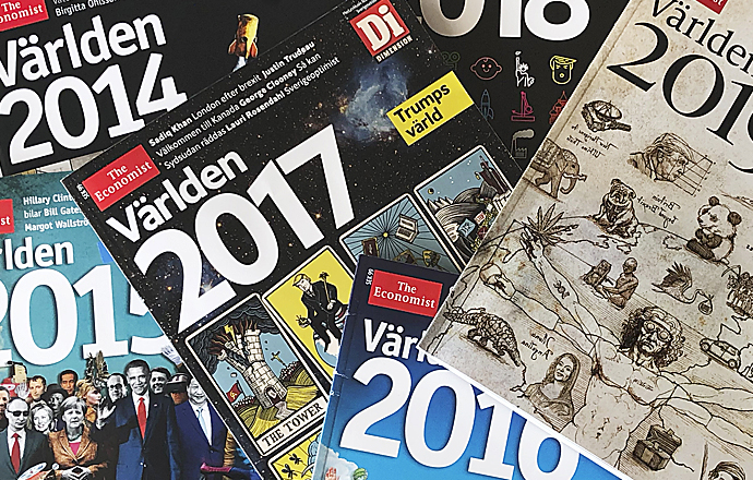 Framsidor Magasinet Världen 2014 till 2019