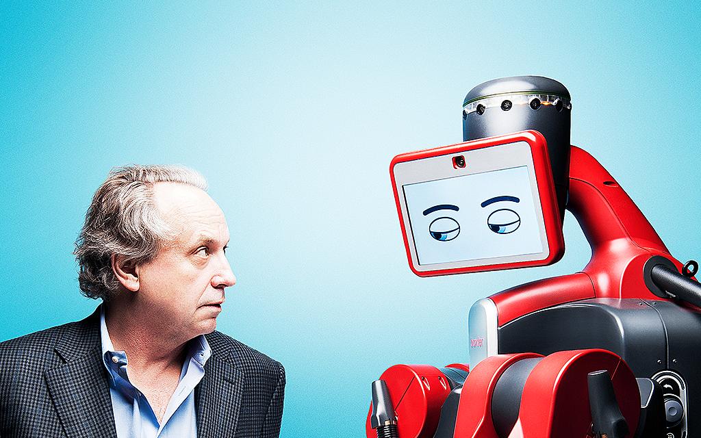 Man och robot tittar på varandra
