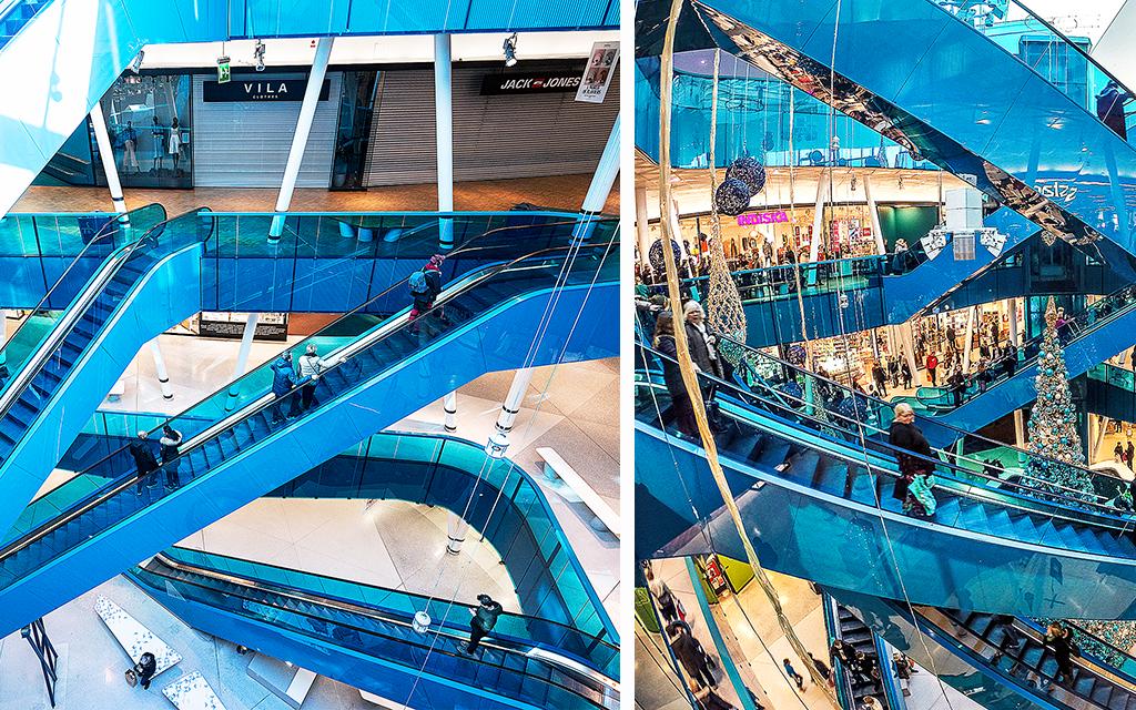 Två bilder som visar skillnaden i folkmängd i ett svenskt köpcentrum 2019 respektive 2020