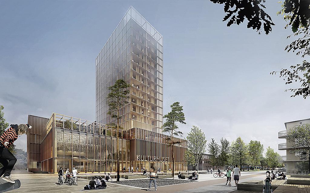 Arkitektskiss föreställande Sara kulturhus i Skellefteå