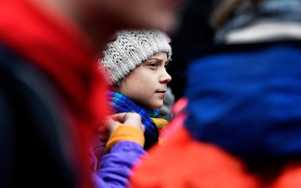Greta Thunberg i folksamling