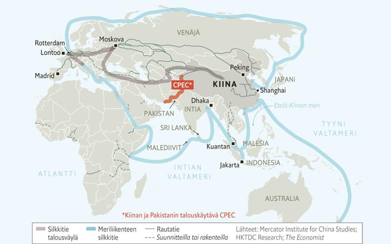 Illustration världskarta med handelsvägar