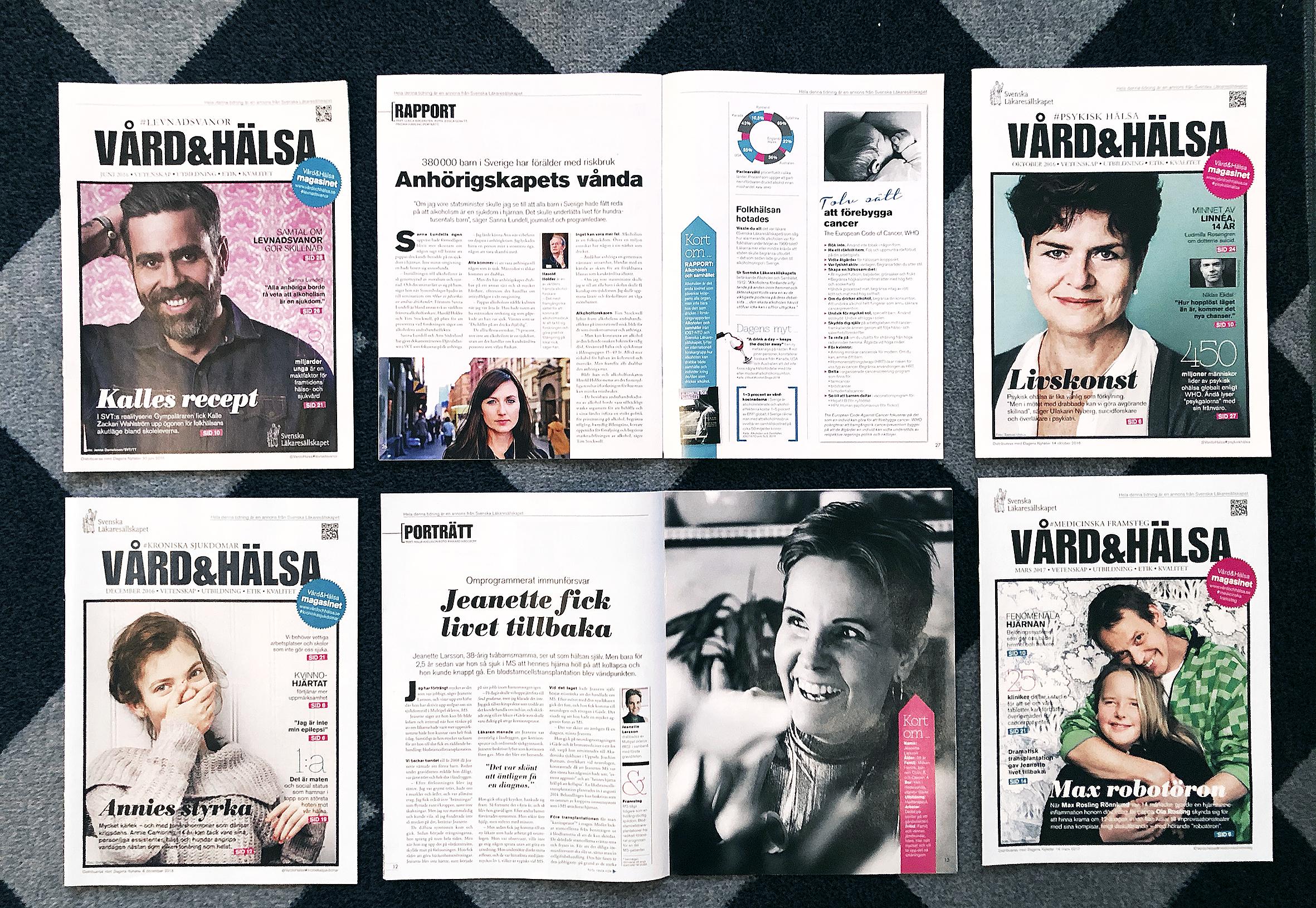 Exempel på uppslag i magasinet Vård & Hälsa