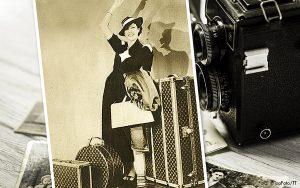 Gammal bild på kvinna med flera resväskor